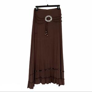 Pink Apple maxi skirt buckle belt brown medium